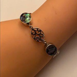 Sterling silver abalone shell bracelet